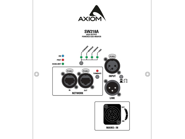AXIOM Powered Manifolded Transmission Line 2 x 18 Subwoofer. Class D, SMPS, 2.000W + 2.000W Pwr